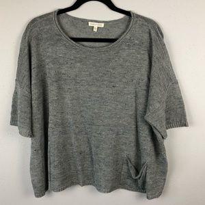 Eileen Fisher grey linen blend sweater small